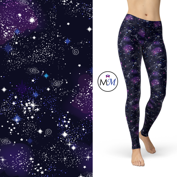 WS - Galaxy Leggings - Nebula, Stars, Full Length Pockets - Pre-order