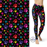 Fur Baby Paw Print Leggings with Pockets