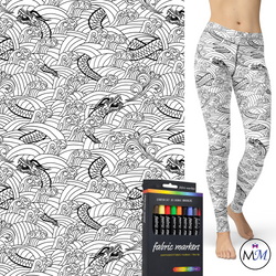 WS -  Dragon Coloring Book Leggings with Side Pocket