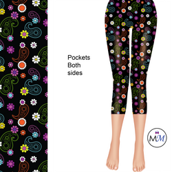 Black Paisley Colorful Capri Length Leggings with pockets