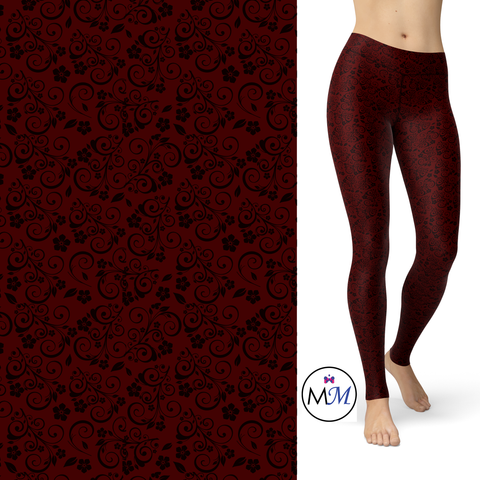 Floral Leggings in Maroon