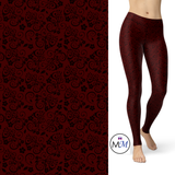 WS - Floral Leggings in Maroon