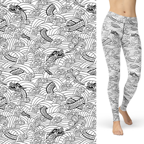 Dragon Coloring Book Leggings with Side Pocket