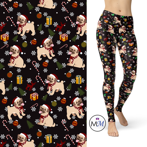 Pug Christmas Leggings with Pockets