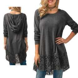 WS Long Sleeve Lace Shirt with Silk Hood