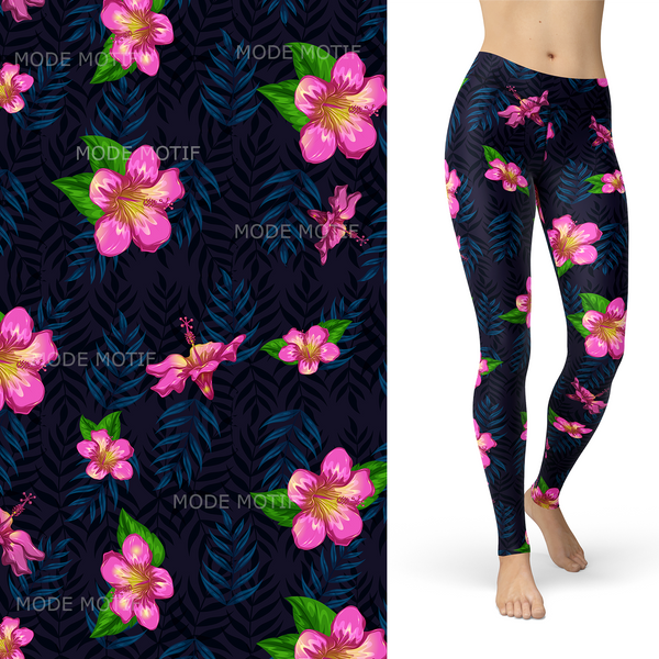 Tropical Night with Leaf and Pink Lilly Leggings