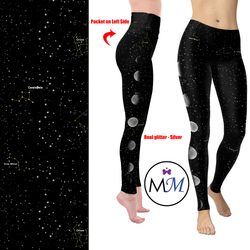WS - Cosmos Moon Leggings with Constellations  Real Silver Foil Glitter and Pockets