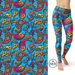 Paisley Blue Leggings with Pockets
