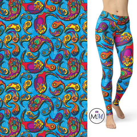 WS - Paisley Blue Leggings with Pockets