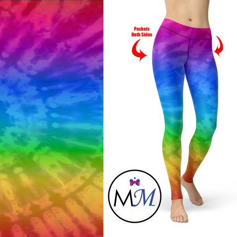WS - Rainbow Tie Dye Leggings with Pockets