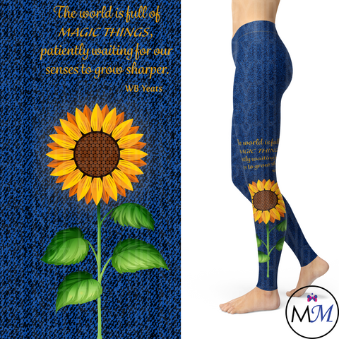 Sunflower Leggings with Yeats Quote and Pockets