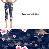 Women's Tropical Flower Printed Leggings with Pockets