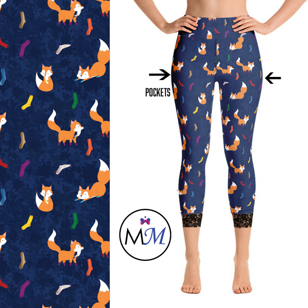 Fox Socks Leggings with Lace Capri