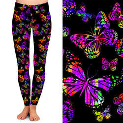 Neon Butterfly on Black  Buttery Soft Leggings Regular