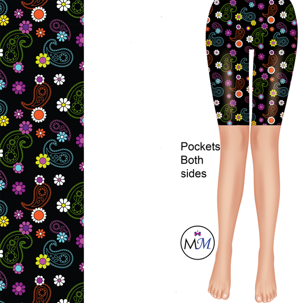 Black Paisley Colorful Shorts Leggings with pockets
