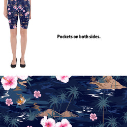 Women's Tropical Flower Printed Shorts Leggings with Pockets