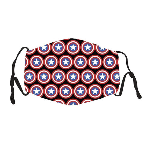 Face Cover - Capt American - Reuseable with 5 Filter Inserts - Ready to Ship