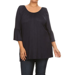 Solid Black Off Shoulder with 3/4 Kimono Bell Sleeves Plus Size