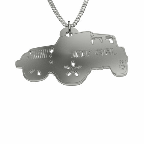 Jeep Girl Necklace in Sterling Silver or Stainless Steel