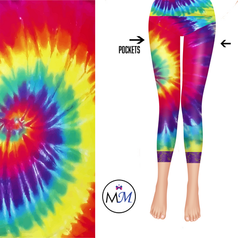 Tye Dye Lace Capri Leggings with Purple Lace