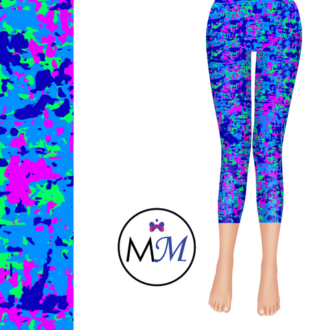 UV Reactive Fluorescent Neon Camo Capri Leggings with pockets