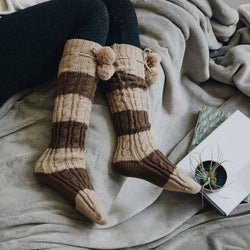 Knee High Striped Pom Pom Socks