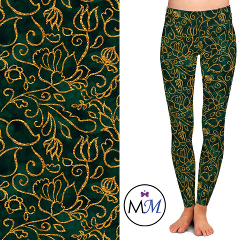 Emerald Green and Gold Filigree Leggings
