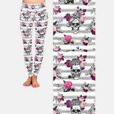 Pretty Cool Skull with Flowers and Pipe Leggings