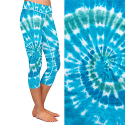 Blue Tie Dye Capri  Leggings with Pocket on Left Side