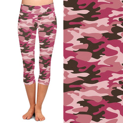 Pink Camo Capri  Leggings with Pocket on Left Side