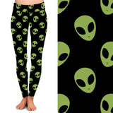 Green Aliens on Black Background Full Length Leggings