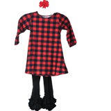 Girls Buffalo Plaid Black and Red 3/4 Sleeve Dress and Black Ruffle Pants