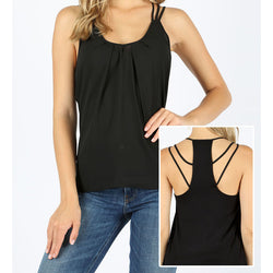 Woven Straps Detail Racerback Tank Top in Black or Red