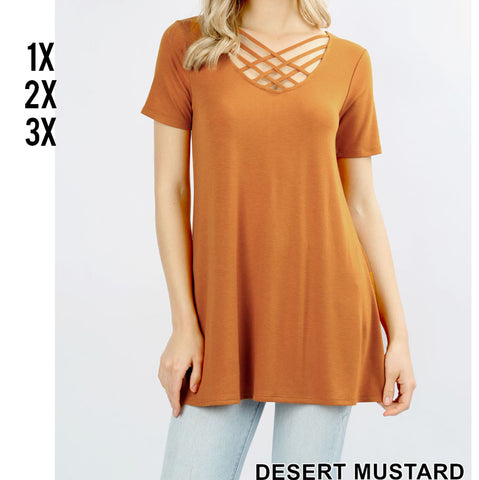 Triple Crisscross Short Sleeve Top in Mustard