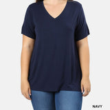Navy Blue T Shirt with a V Neck in Plus Size