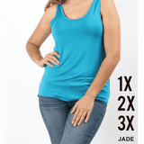 Teal Double Scoop Tank Top