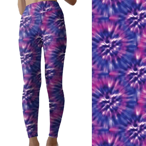 Purple Blue Tie Dye Capri Leggings