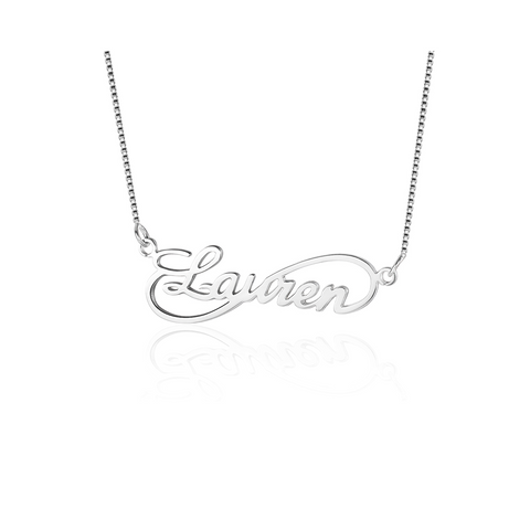 Personalized Infinity Name Necklace Sterling Silver - Word Necklace