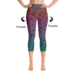 Rainbow Ombre Lace Capri Leggings