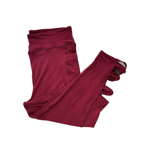 Solid Wine Leggings with Pockets Capri Criss Cross
