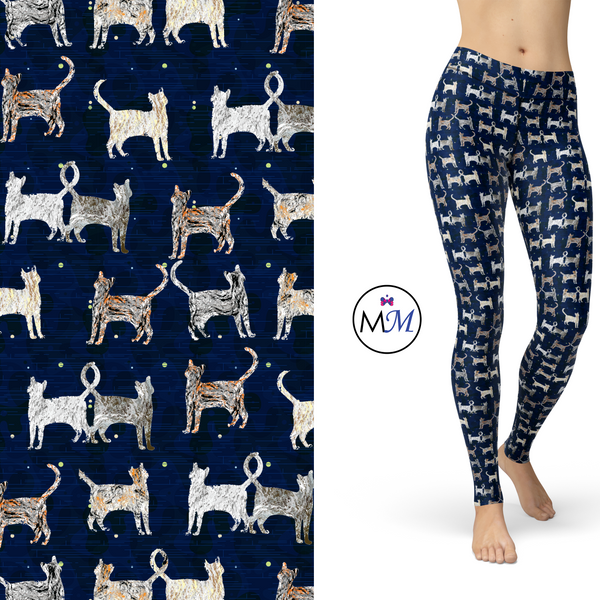 Tabby Cats on Blue Leggings