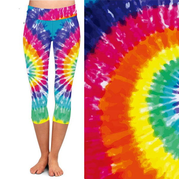 Tie Dye Capri  Leggings with Pocket on Left Side