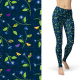 Blue Vine Butterfly, Flowers, Ladybugs on Teal Buttery Soft Leggings Regular