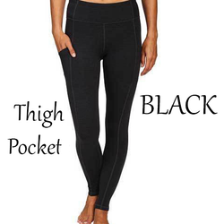Solid Black Leggings with Thigh Pocket