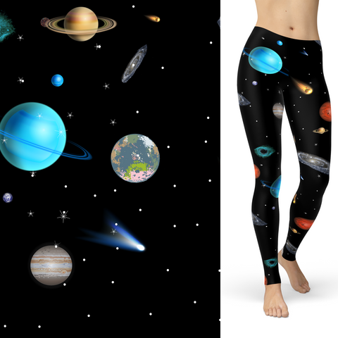 WS - Outer Space Celestial Leggings with Pockets Kids and Adult