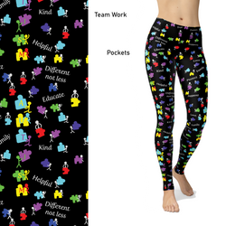 Team Work Autism Leggings with Pockets Awareness