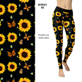 Butterfly, BumbleBee and Sunflowers Black Background Leggings with Pockets