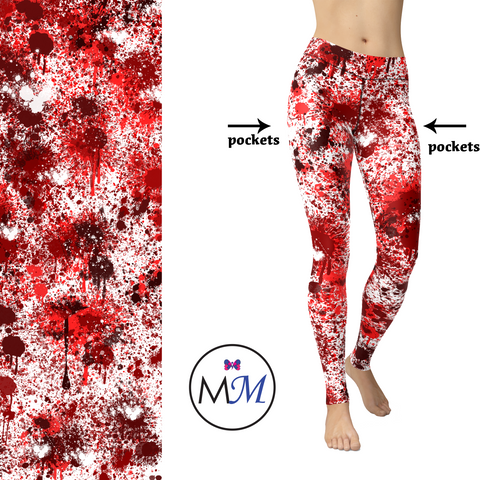 WS - Bloodshot Blood Splatter Full Length Custom Leggings
