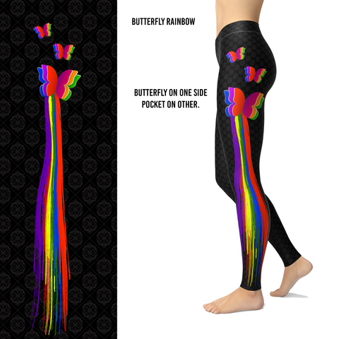 Butterfly Trail Rainbow Leggings with a Pocket on one Side
