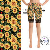 WS - Sunflower Leggings with Black Lace Shorts.